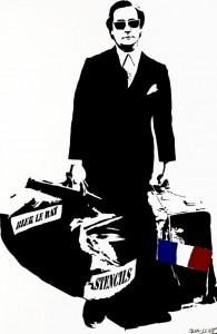 Fig 10. Man Who Walks Through Walls 2008, Stencil Spraypaint on Canvas, 250 x 170 cm