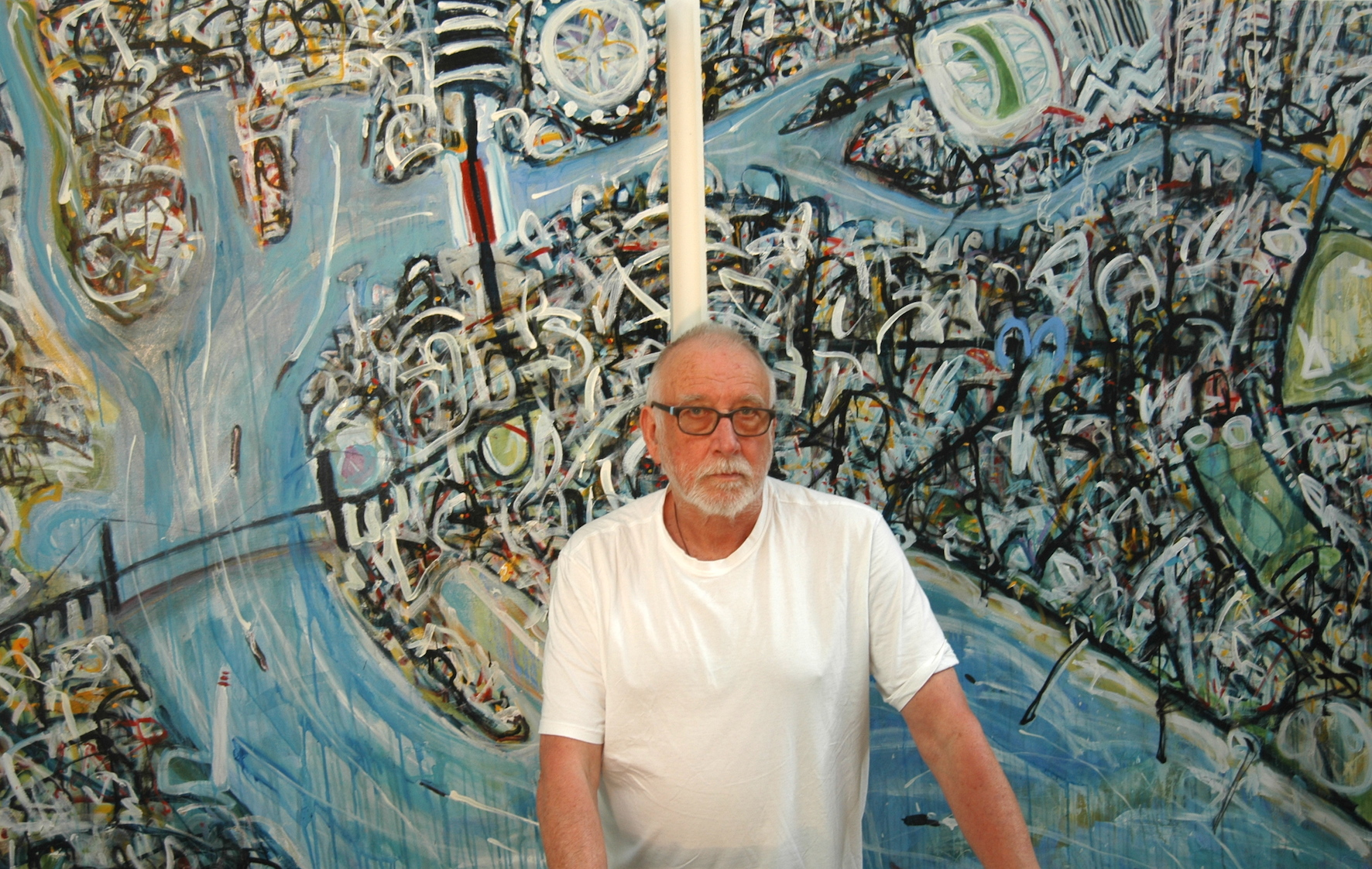 Arthur Ted Powell in his studio at Gasworks Arts Park, Astral Plane # 13, diptych, acrylic on canvas, 153 x 249cm, August 2015 [reduced]